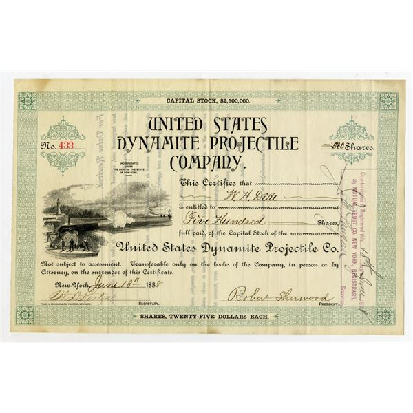United States Dynamite Projectile Co., 1888 I/U Stock Certificate