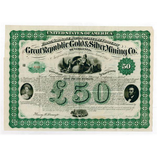 Great Republic Gold & Silver Mining Co. 1867 I/U Bond