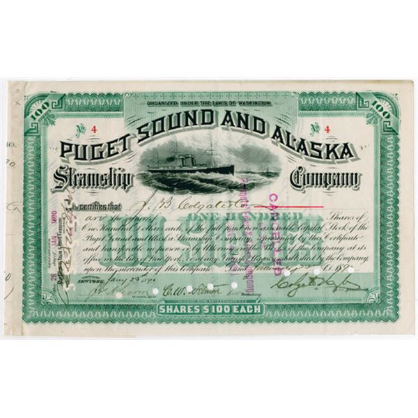 Puget Sound and Alaska Steamship Co. 1890 Stock Certificate, Low S/N 4