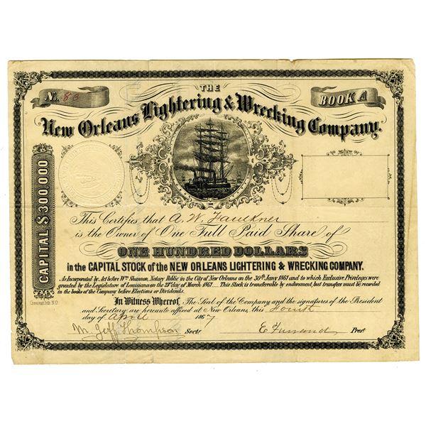 New Orleans Lightering & wrecking Co., 1867 I/U Stock Certificate.