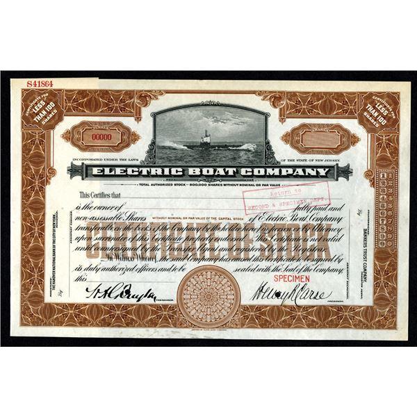 Electric Boat Co. 1920-30's Specimen Stock Certificate.