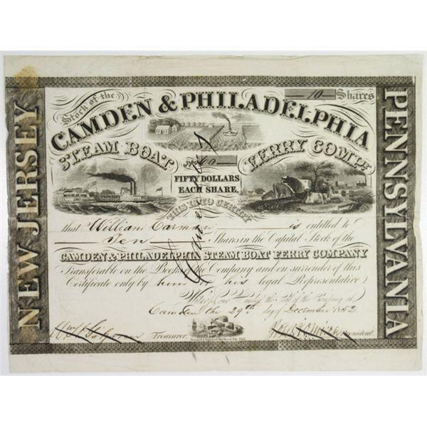 Camden & Philadelphia Steam Boat Ferry Co. 1852 I/C Stock Certificate