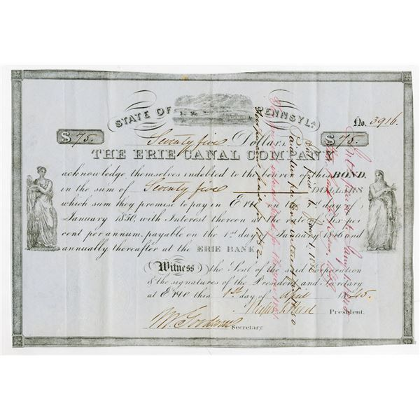 Erie Canal Company 1845 Issued and Partially Redeemed Bond