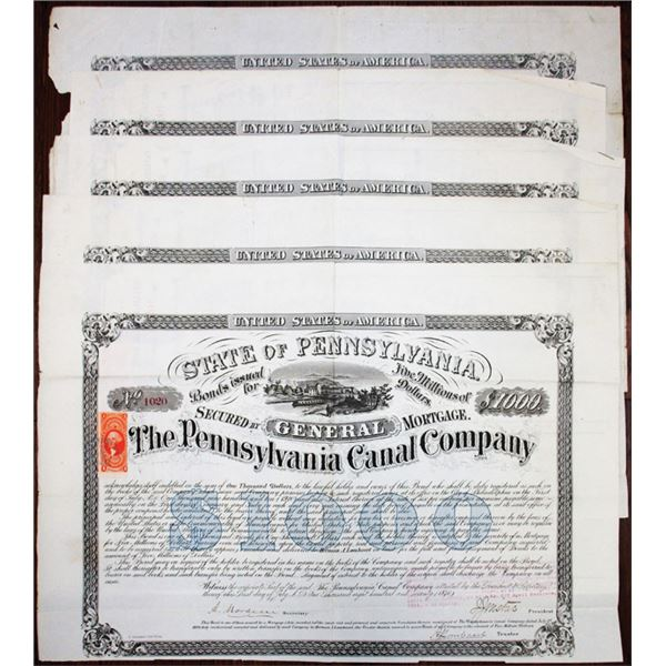 Pennsylvania Canal Co. 1870 Issued Bond Quintet Signed by Alfred Mordecai, Jr & General Isaac Jones