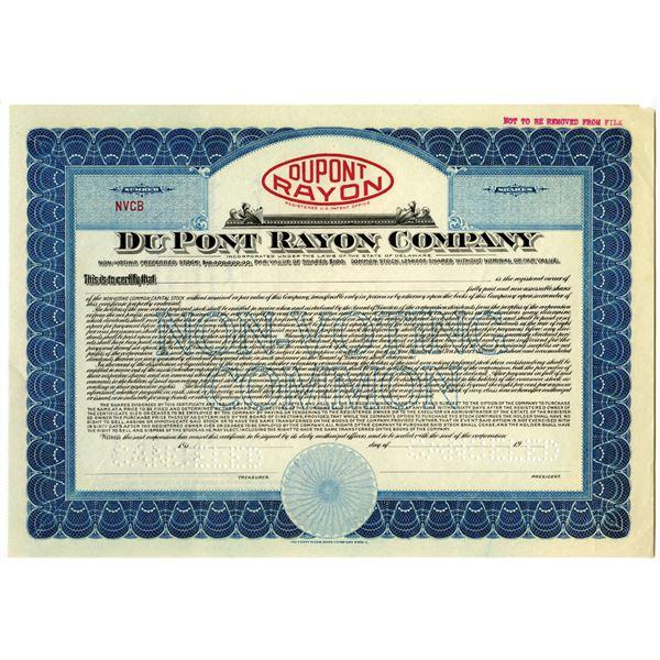 Du Pont Rayon Co., ca.1925-30's, Specimen Stock Certificate