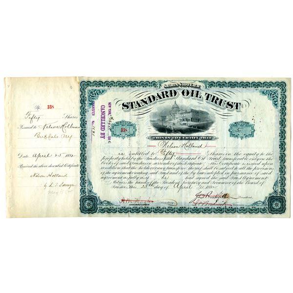 Standard Oil Trust 1882 I/C Stock Certificate Signed by J.D. Rockefeller