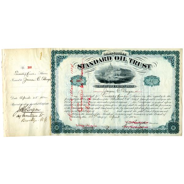 Standard Oil Trust 1882 Issued Stock Certificate