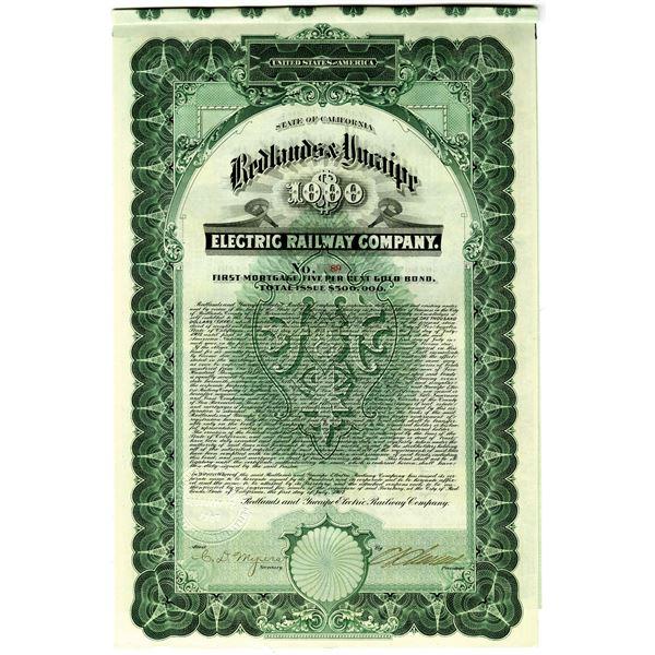 Redlands & Yucaipe Electric Railway Co. 1907 I/U Bond