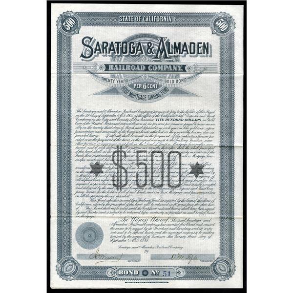 Saratoga & Almaden Railroad Co., 1885 I/U Bond.