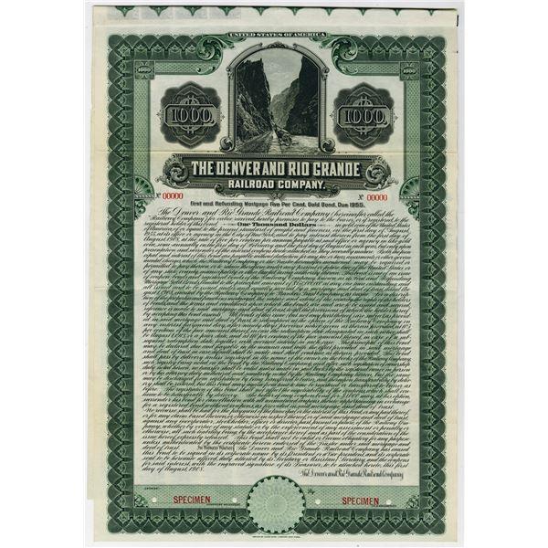 Denver and Rio Grande Railroad Co., 1908 Specimen Bond