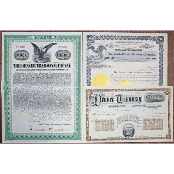 Denver Tramway Company, Colorado Railroad Stock Certificate and Bond Assortment, ca.1890-1914.