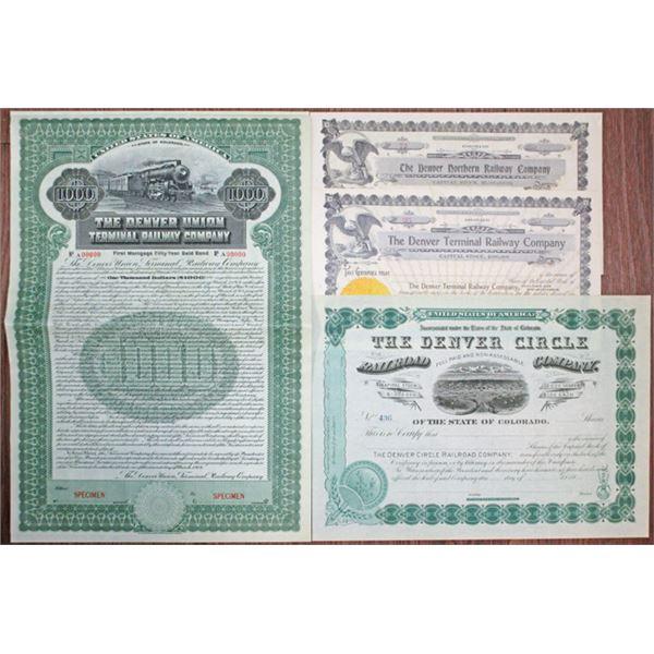Denver Union Terminal Railway Co., Colorado Railroad Stock Certificate and Bond Quartet.
