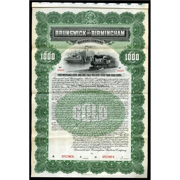 Brunswick and Birmingham Railroad Co., 1902 Specimen Bond