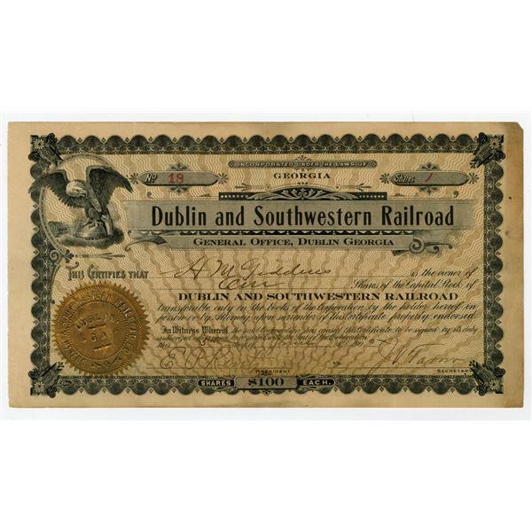 Dublin and Southwestern Railroad, 1905 I/U Stock Certificate