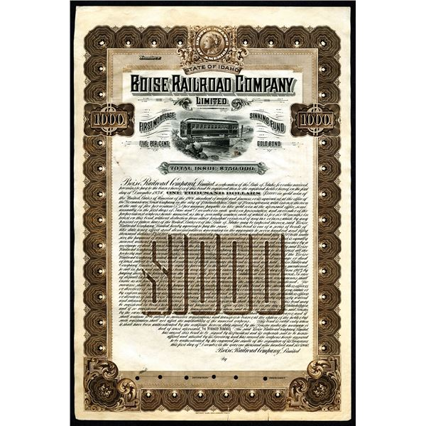 Boise Railroad Co. Ltd., 1906 Specimen Gold Bond