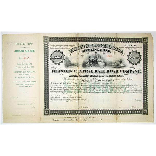 Illinois Central Rail Road Co. 1871 Sterling Bond Rarity