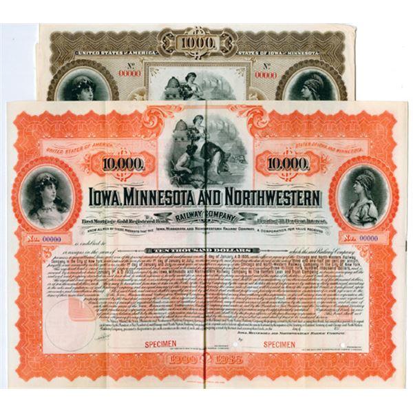 Iowa, Minnesota & Northwestern Railway Co., 1900 Specimen Bond Pair.