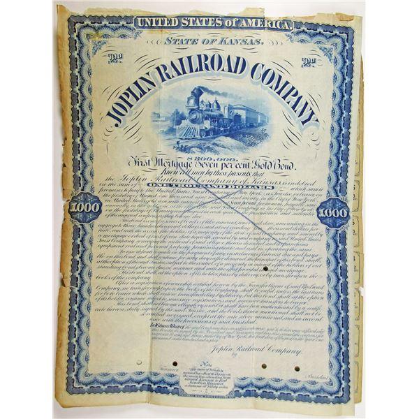 Joplin Railroad Co. 1880 Unique Unlisted Specimen Bond Rarity