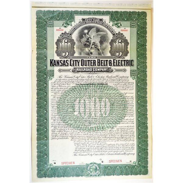 Kansas City Outer Belt & Electric Railroad Co. 1903 Specimen Bond