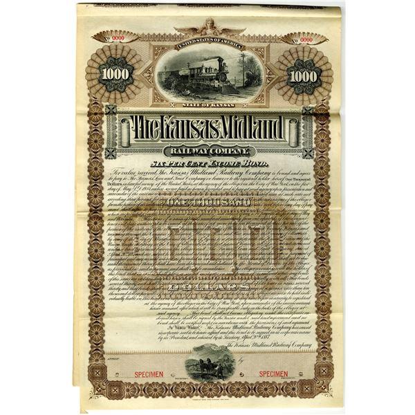 Kansas Midland Railway Co. 1887 Specimen Bond