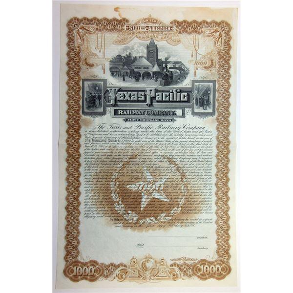 Texas and Pacific Railway Co., 1888 Unmarked Specimen Bond