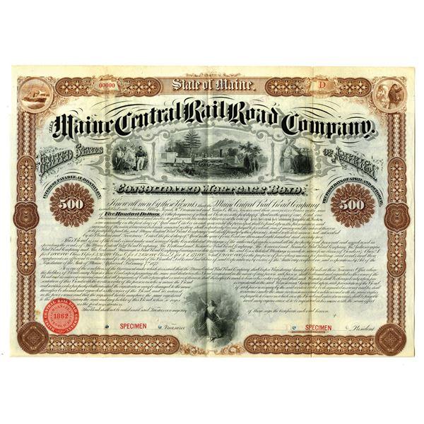 Maine Central Rail Road Co., 1872 Specimen Bond