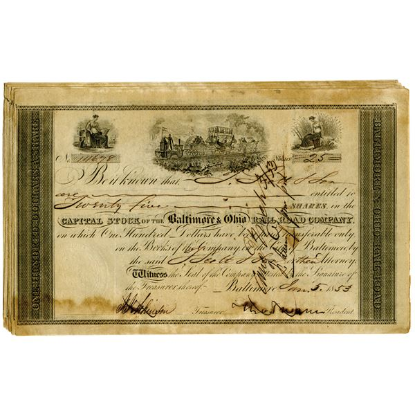 Baltimore & Ohio Rail Road Co. 1853 Stock Certificate Assortment