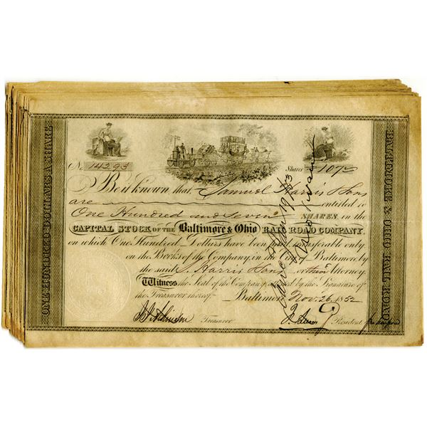 Group of 20 Baltimore & Ohio Railroad Co., 1852 I/C Stock Certificate Group