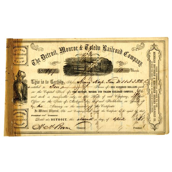 Detroit, Monroe & Toledo Railroad Co. 1861 I/C Stock Certificate ITASB Henry Keep.