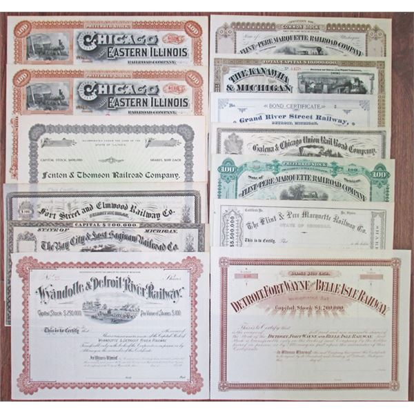 Michigan and Illinois Railroad Stock Certificate Assortment, ca.1860-1910s