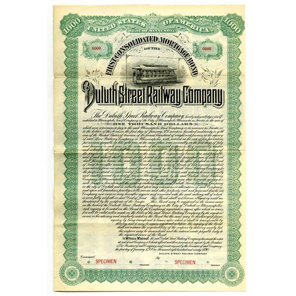 Duluth Street Railway Co. 1890 Specimen Bond