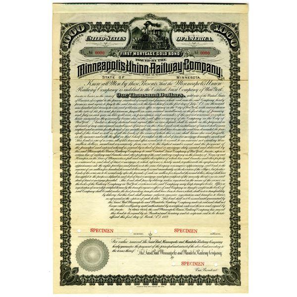 Minneapolis Union Railway Co. 1882 Specimen Bond Rarity