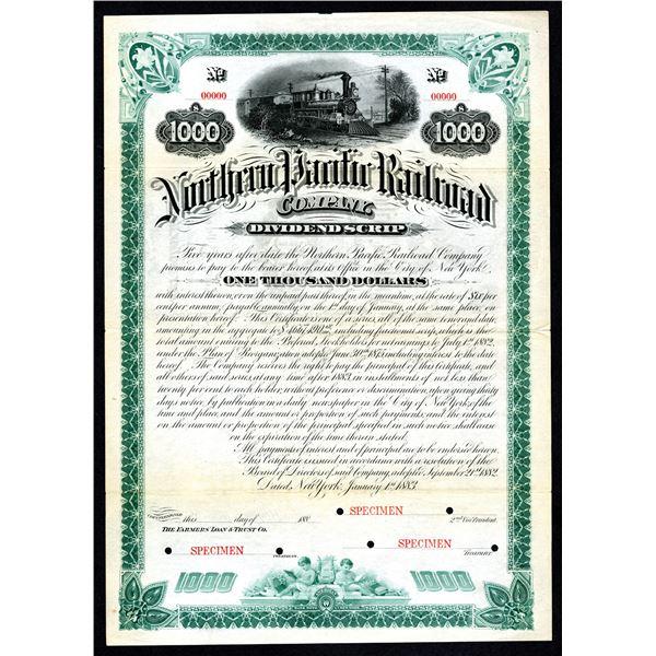 Northern Pacific Railway Co., Dividend Scrip, 1883 Specimen Bond.