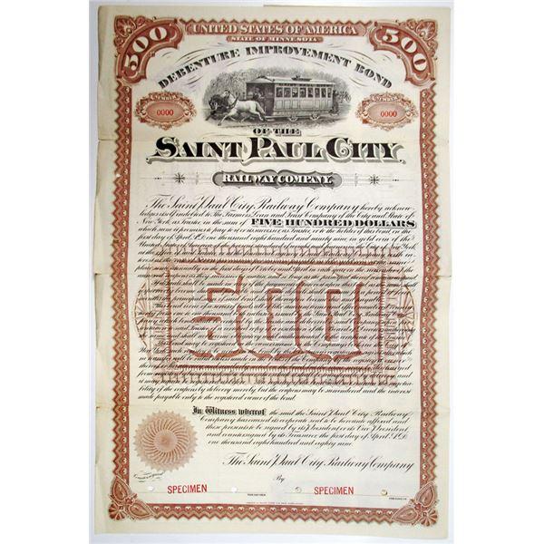 Saint Paul City Railway Co. 1889 Specimen Bond Rarity