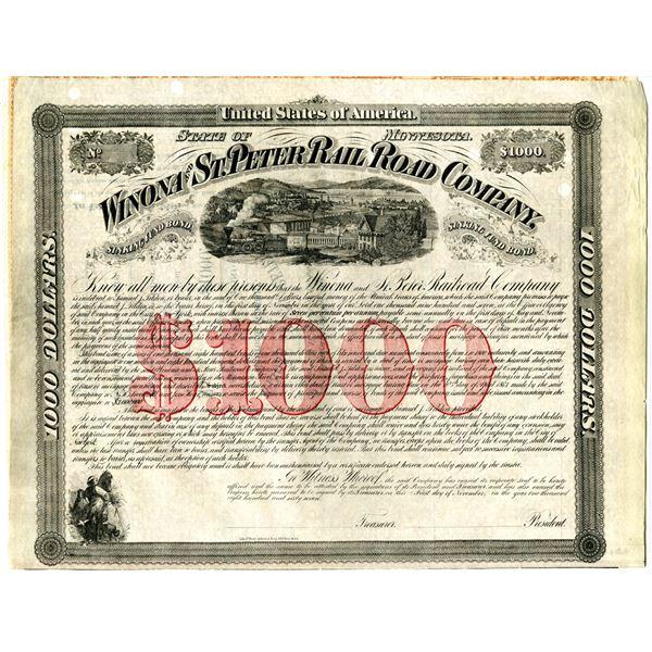 Winona and St. Peter Railroad Co. 1867 Unlisted Railroad $1000 Specimen Bond Rarity