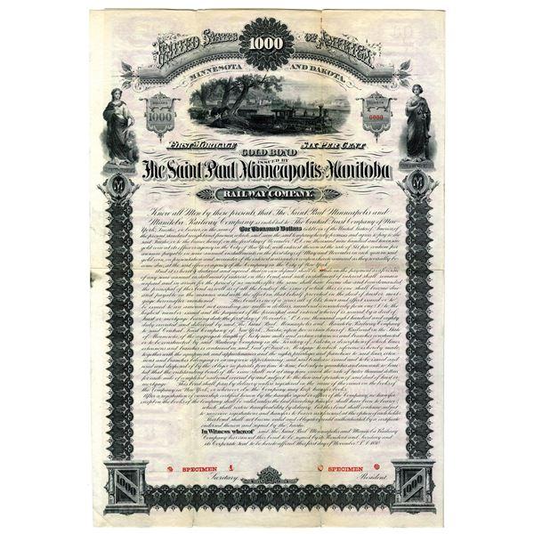 Saint Paul, Minneapolis and Manitoba, 1880 Specimen Bond Rarity
