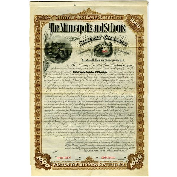 Minneapolis and St. Louis Railway Co. 1882 Specimen Bond