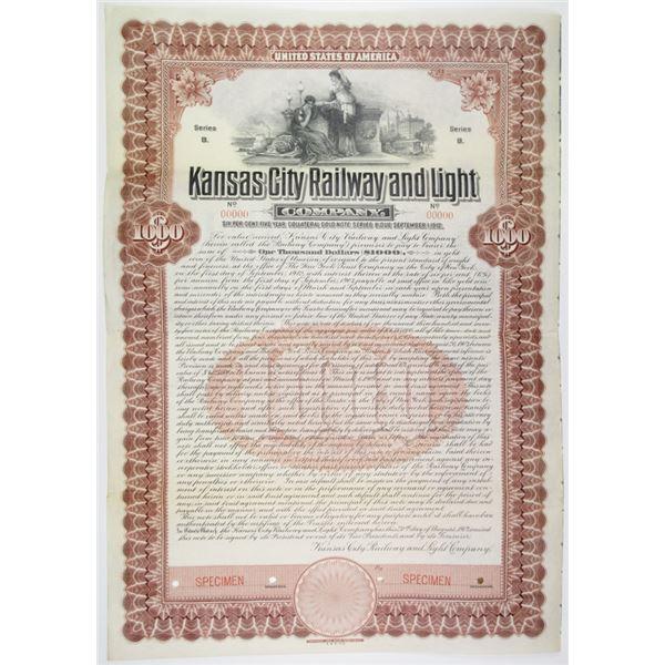 Kansas City Railway and Light Co. 1907 Specimen Bond