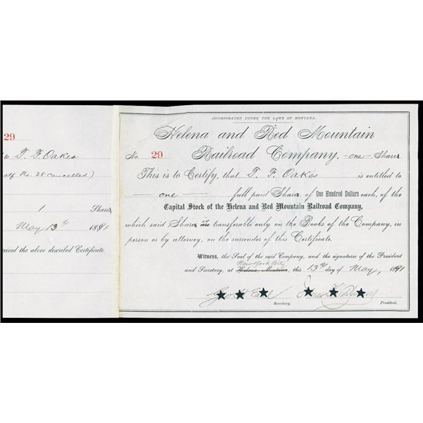 Helena and Red Mountain Railroad Co. 1891 I/C Stock Certificate.