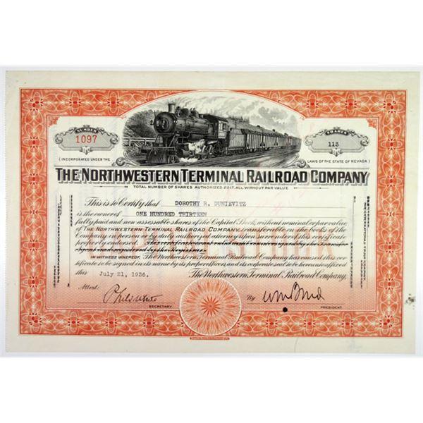 Northwestern Terminal Railroad Co. 1936 I/U Stock Certificate.