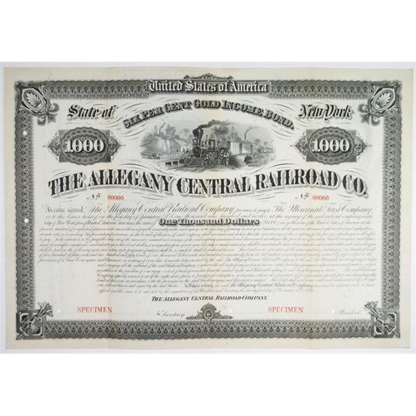Allegany Central Railroad Co., 1881 Specimen Bond Rarity.
