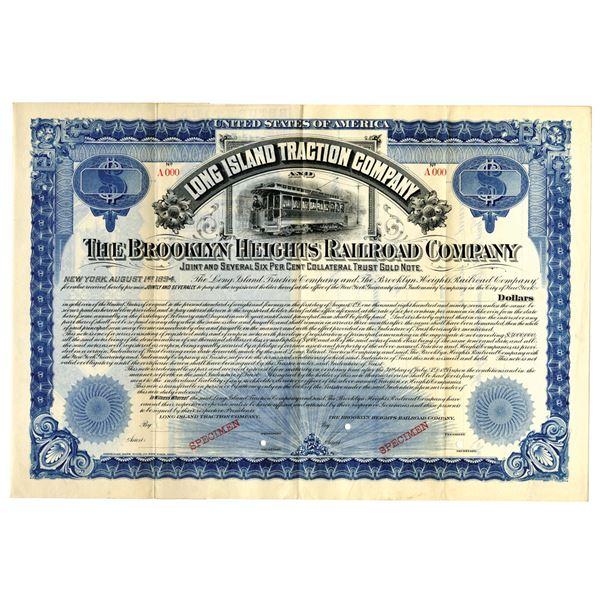 Long Island Traction Co. & Brooklyn Heights Railroad Co., 1894 Specimen Bond