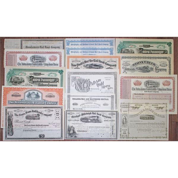 Northeastern Railroad, U/U, Stock Certificate Assortment, ca. 1870-1950s
