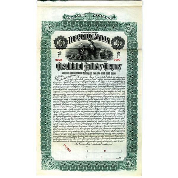 Canton-Akron Consolidated Railway Co. 1906 Specimen Bond Rarity