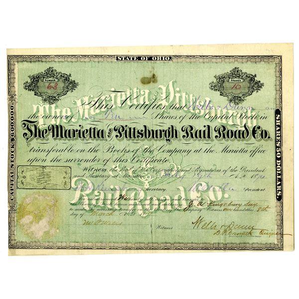 Marietta and Pittsburgh Rail Road Co. 1870 I/U Stock Certificate.