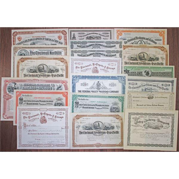 Ohio Railroad Stock Certificate Assortment, ca.1870-1910s