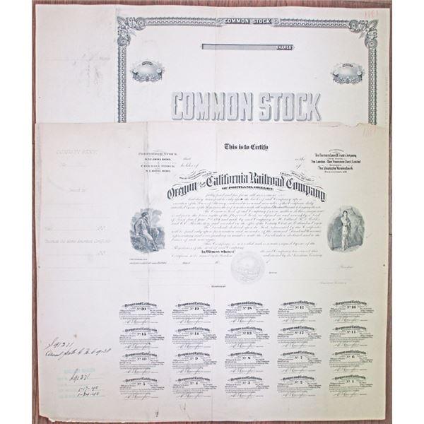 Oregon and California Railroad Company of Portland, Oregon. 1881 Progress Proof Stock Certificate Pa