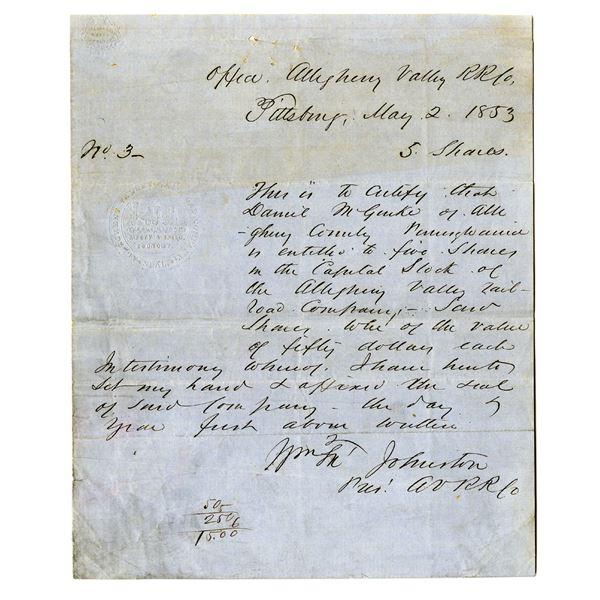 Allegheny Valley Railroad Co. 1853 I/U Hand Written Stock Certificate