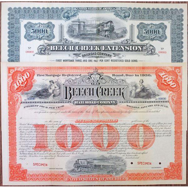 Beech Creek Railroad Co. and Beech Creek Extension Railroad Co. Specimen Bond Pair