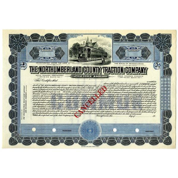 Northumberland County Traction Co., 1900-1920 Specimen Stock Certificate